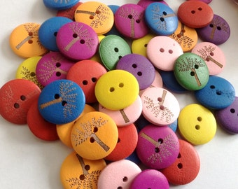 Wholesale, Bulk Buy Painted Wood Buttons 20mm B33176
