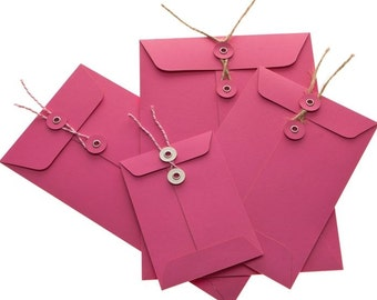 String Tie Envelopes - Cerise x 10 (DL size)