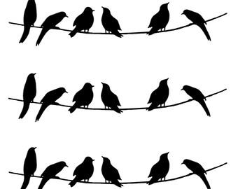 3 Birds on Wire Small to Medium Barrettes Black Silk Screen Enamel Fused Glass Decals 15CC470