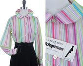 RESERVED Candystripe Blouse / Vintage Peter Pan Collar Shirt 60s 70s Mod Madmen Cute Spring Summer Cotton Secretary Shirt Pink Green M
