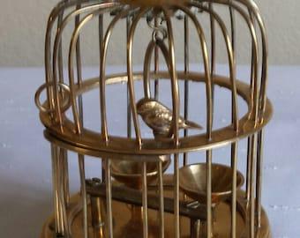Vintage Brass Birdcage Brass Cage Bird on Swing Brass Gifts
