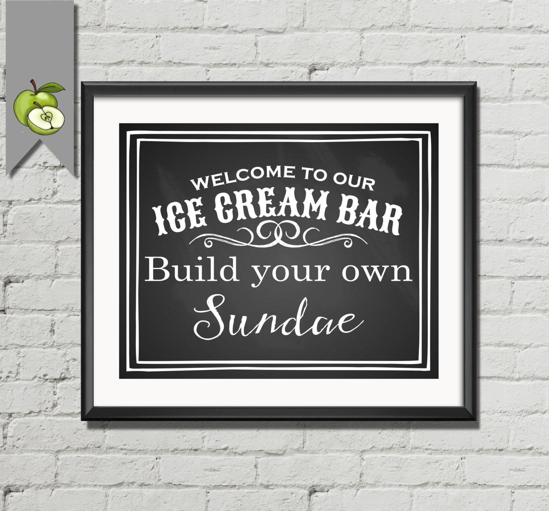 Ice Cream Bar Diy Printable Wedding Sign 4 Sizes Vintage
