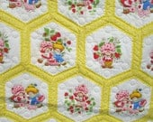 Strawberry Shortcake Quilt Wall Hanging Hand Stitched 1980s
