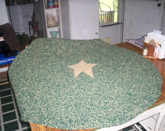 Hand Crocheted Primitive Rag Rug 4 ft Round