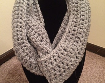 Handmade Crochet Pearl Gray Infinity Scarf