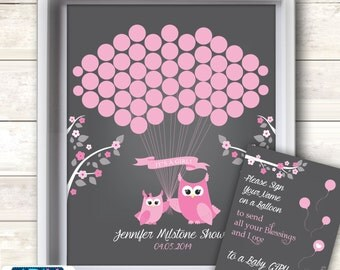 Girl Owl Guest Book Printable Alternative and Girl Owl Wall Art for Baby Owl  Shower DIY Forest  Spring-ao112bs27
