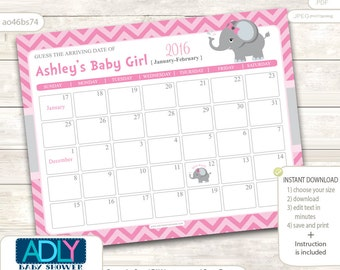 Girl Elephant Guess Due Date Calendar for Baby Shower, Guess Birthday, Birthday Predictions Printable,  pink, gray, chevron - ao46bs74