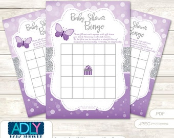 Gray Butterfly Bingo Game Printable Card for Baby Purple Shower DIY grey, Gray Bokeh-ao126bs3