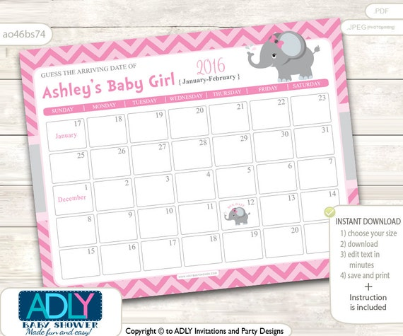 Elephant Guess Due Date Calendar for Baby Shower, Guess Birthday