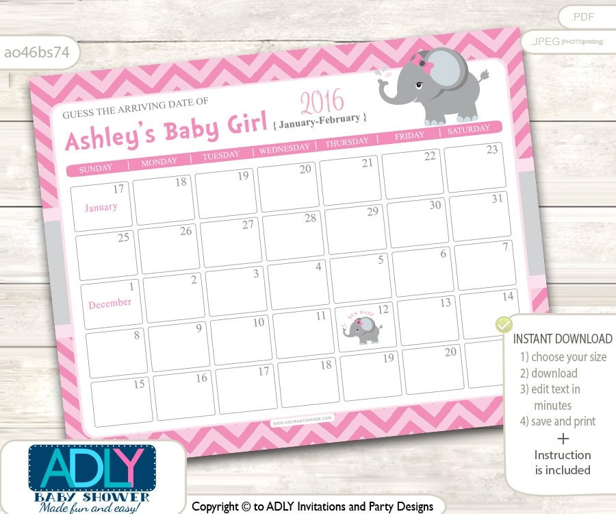 girl elephant guess due date calendar for baby shower guess