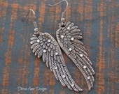 Sparkling Angel Wing Earrings, Silver Angel Wing Earrings,Crystal Angel Wing Earrings, Large Angel Wing Earrings