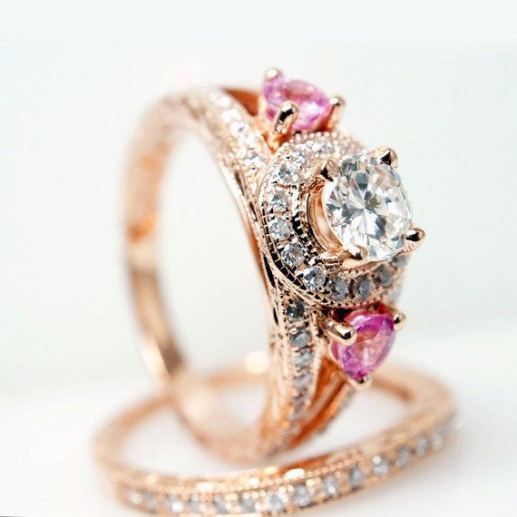 Vintage Style 14k Rose Gold Diamond Engagement Ring w/ Pink Sapphire Side Stones - Matching Wedding Band Complete Bridal Set Rose Gold Ring
