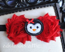 Red Black Penguin Headband - Penguin Party Bow - Penguin Shabby Hair Clip - Red Penguin Bow - Penguin Birthday Outfit - Penguin Holiday Bow