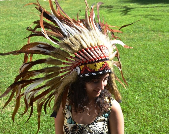 PRICE REDUCED S14- black and brown Feather Headdress
