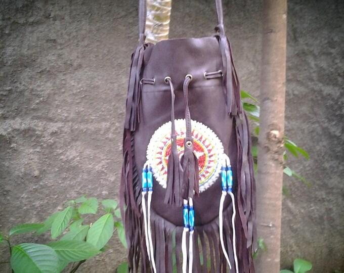Brown  Indian leather Handbag, Native American Style bag. Crossbody bag