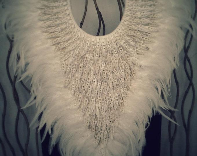 Papua Native Warrior necklace Full white shells