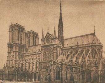 Notre Dame (Paris). Tea toned cyanotype