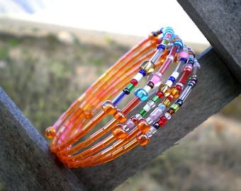 Bracelet memory wire and beads, orange and multicolored, woman, bangle, handmade