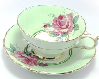 Vintage Paragon Green Rose Tea Cup and Saucer Fine Bone China