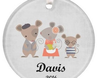 Personalized Family Mouse Ornament