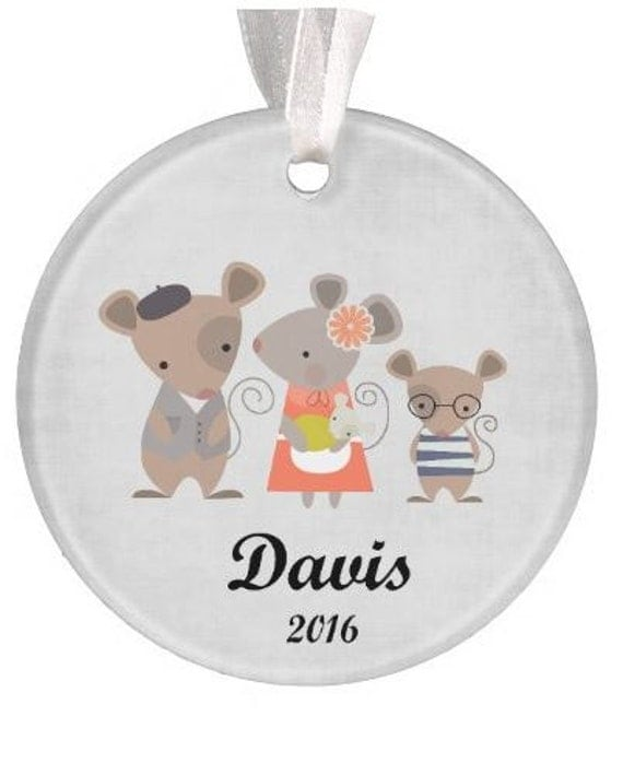 Baptism Ornament Christmas Ornament By Ryellecreations On Etsy: Personalized Family Mouse Ornament