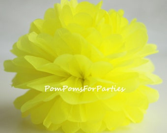 1 High Quality NEON YELLOW Tissue Pom Pom - Choose any of 50 colours - Hanging  Paper flower - Tissue paper balls - Tissue paper pom poms