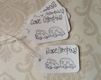 Mid Century Style Hang Tag Gone camping Black and White retro Summer road trip Gift tag set of 25 tags