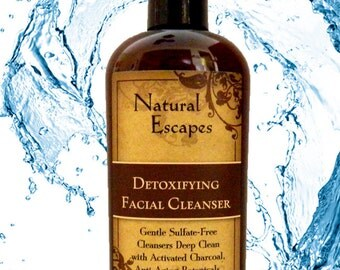 Detoxifying Charcoal Facial Cleanser, 100% Vegan, sulfate free cleanser for all skin types.  Organic face wash deep cleans and purifies skin