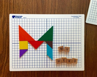 Mom Wall Hanging Mothers Day White board using the 7 piece geometric puzzle Tangram for a Name or your Personal Message