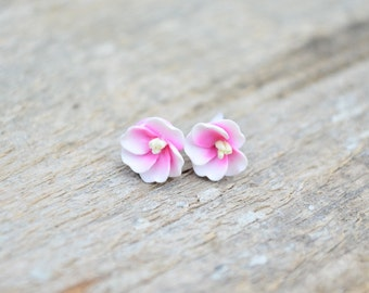 Cherry flower earrings, polymer clay and sterling silver