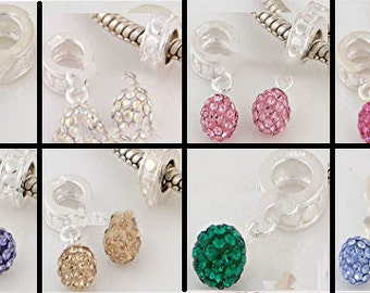 European Dangle, Charm Bead For All Large Hole Charm Bracelet And Necklace Chain. Genuine Austria Crystal (Many Colors~You Choose) 8x25mm