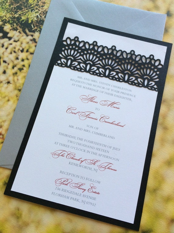 laser cut wedding invitation lace belly band custom