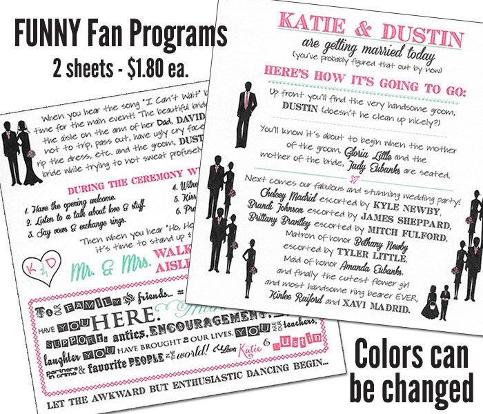 Funny Wedding Program Fan Humorous Fans