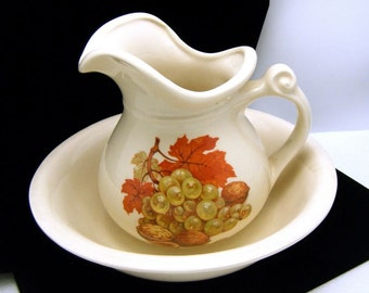 McCoy Pottery Pitcher Bowl Set Fall Leaf Grapes Nuts
