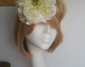 Champagne Fascinator Headband with Huge Satin Flower