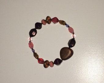 Beaded Bracelet One-of-a-Kind Beaded Bracelets- pink w/brown