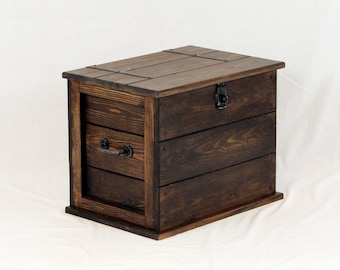 Medium Handmade Solid Pine Wooden Storage Trunk Chest Rustic Farmhouse Toy Box Blanket Box Ottoman Boot box Coloured in Dark Church Oak