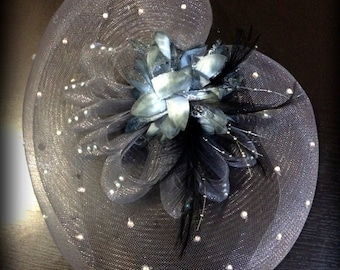 grey tonal headpiece with barrette clip, bling crystal AB with feathers, flowers, beads net, bridal, tea party