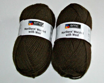 Two Skeins of SMC Northern Worsted with Wool Yarn - Brown