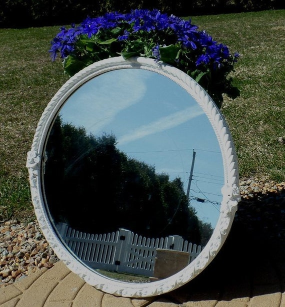Large shabby white antique round mirror floral details for Large white round mirror