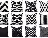 Black Couch Pillow Covers - One Black and White Pillow - Pillow Sham - Pillow Case - Pillow Cover - Toss Pillow - Accent Pillow - Euro Sham