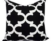 Decorative Pillows - Two Black Quatrefoil Pillow Covers - Moroccan Tile Pillow Cover - Accent Pillow - 16x16 18x18 20x20 22x22 24x24 26x26