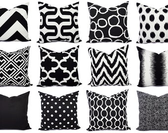 Decorative Pillow Covers - Pick One Black and White Pillow - Pillow Sham - Black Pillow Case - Solid Black Pillow - Black Chevron
