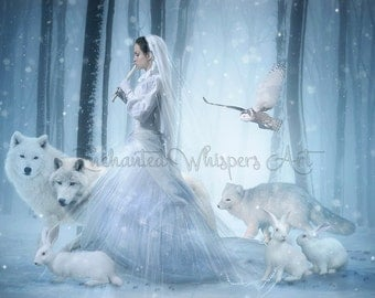 magical woman piper in winter forest with animals