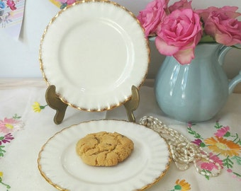 Vintage Richmond bone china white and gold pair of  tea plates.