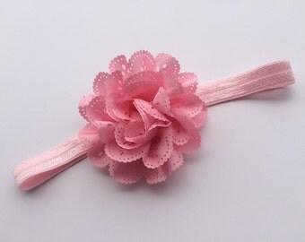 Light pink eyelet flower headband hair clip