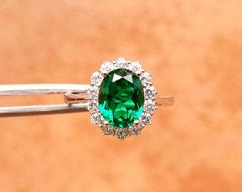 Women Emerald Ring, Fashion Emerald Jewelry Ring, Synthetic Emerald, Women Wedding Jewelry S925 Ring, US Size 7 / 8