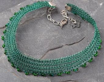 Green Choker, Green Boho Necklace, Bridesmaid Gift