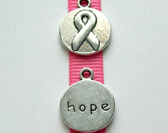 New Low Price! Breast Cancer Awareness Pink Ribbon Hope Charms for Bracelets and Pendants, Package of 15