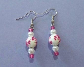 Magenta flower earrings